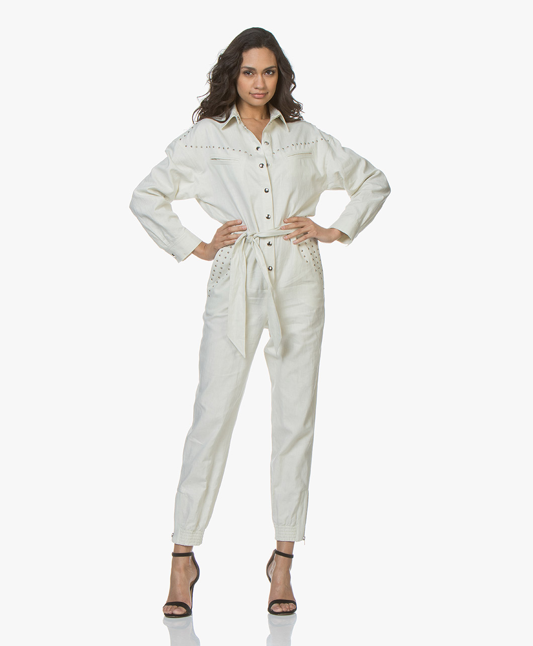 93248d32e37 IRO Nicely Linen Blend Jumpsuit - Ecru - nicely