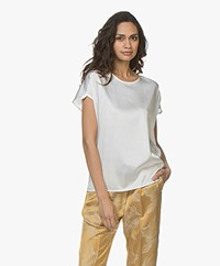 JapanTKY Yonaz Silk Satin Blouse Top - Panna