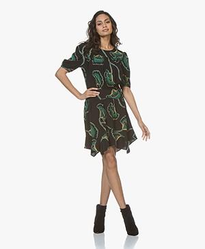 ba&sh Leo Viscose Crepe Printed Dress - Black
