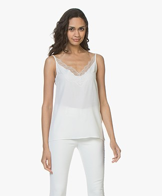 Drykorn Letitia Crepe Camisole with Lace - Off-white