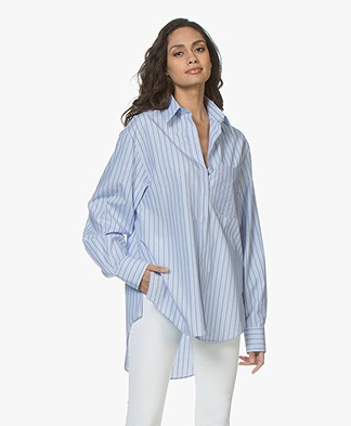 Joseph Gibson Oversized Striped Shirt - Blue