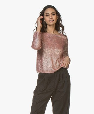 forte_forte Cashmere Blend Coated Sweater - Pompelmo