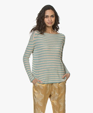forte_forte Cashmere Blend Striped Sweater - Beige/Sirena