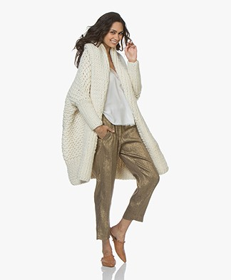 I Love Mr Mittens Pearl Stitch Open Cardigan - Cream