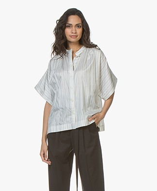 Joseph Jasper Silk Short Sleeve Blouse - Ecru