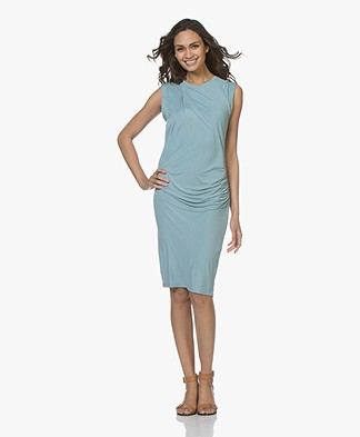 Majestic Filatures Jersey Dress with Pleats - Summer Blue