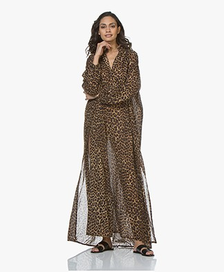 Mes Demoiselles Farouche Voile Leopard Print Maxi Dress - Brown