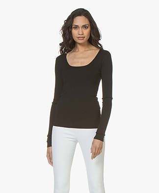 Joseph Silk Blend Milano Rib Long Sleeve - Black