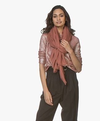 Pomandère Rectangular Scarf in Modal and Cashmere - Rusty Pink