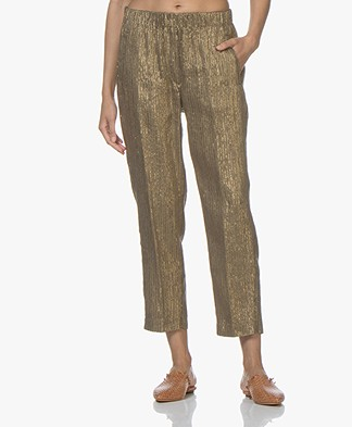 forte_forte Linen Blend Lurex Pants - Oro