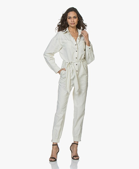 ca2865ca9172 Home  »  jumpsuits · IRO. Nicely Linen Blend Jumpsuit Ecru