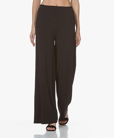 LaSalle Wide Crepe Jersey Pants - Black