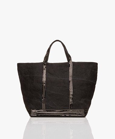 Vanessa Bruno Large Linen Shopper - Black