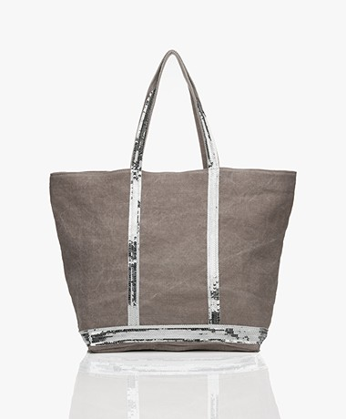 Vanessa Bruno Medium Linnen Shopper met Rits - Calcaire