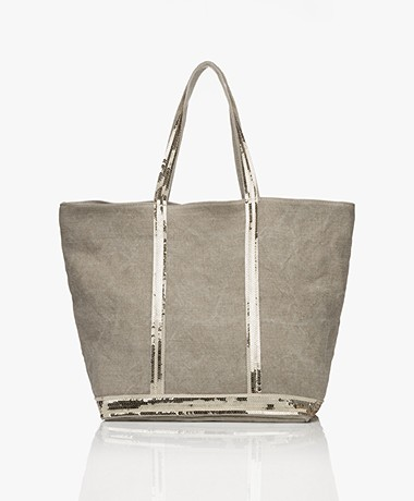 Vanessa Bruno Medium Linen Zip Shopper - Sable