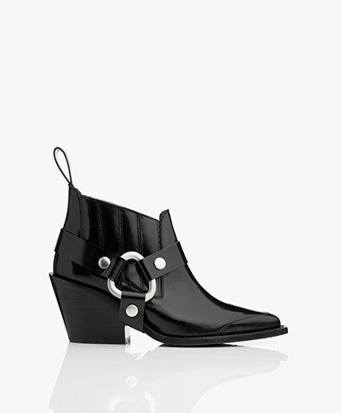 Zadig & Voltaire N'Dricks Glossy Ankle Boots - Black