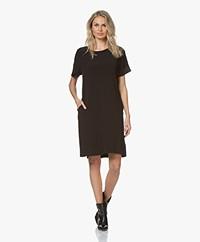 LaSalle Crepe Crew Neck Dress - Black