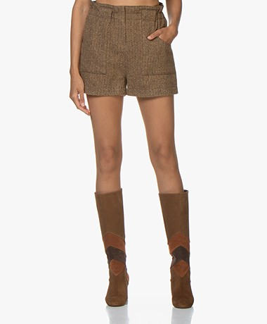ba&sh Peter Vissengraat Tweed Short - Bruin