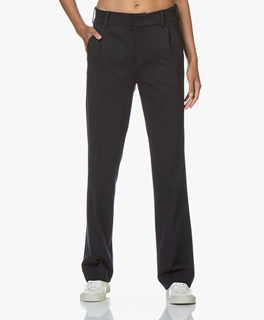 Drykorn Essay Jersey Pantalon met Rechte Pijpen - Donkerblauw