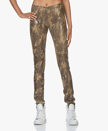 Mes Demoiselles Esther Leather Snake Print Leggings - Reptile