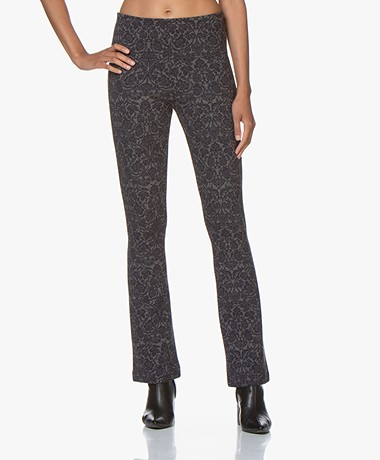 no man's land Jacquard Jersey Flared Pants - Dark Sapphire