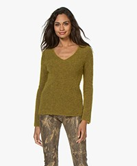 no man's land V-neck Sweater with Mohair - Matcha