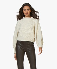 I Love Mr Mittens Cropped Diamond Pattern Sweater - Cream