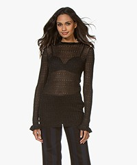 By Malene Birger Alivia Lurex Rib Pullover with Ruffles - Black