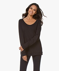 Majestic Filatures U-neck Long Sleeve with Cashmere - Marine