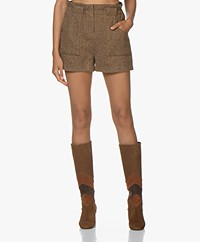 ba&sh Peter Herringbone Tweed Shorts - Brown