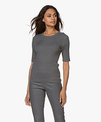 Repeat Half Sleeve Cotton Blend Rib Pullover - Medium Grey