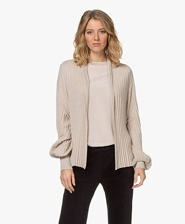 Repeat Open Ribbed Cotton Blend Cardigan - Light Beige