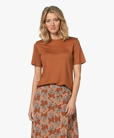 By Malene Birger Amatta Lyocell T-shirt - Brick