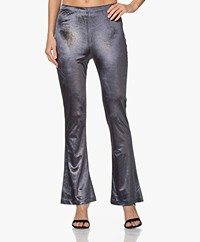 Mes Demoiselles Disco Velours Lurex Flared Legging - Charcoal