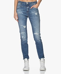 Closed Skinny Pusher Destroyed Jeans - Mid Blue