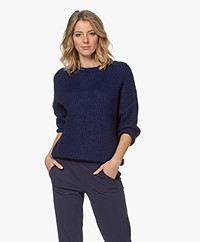 by-bar Milou Susi Fisherman's Rib Sweater - Indigo Blue