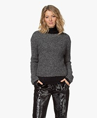 no man's land Kid Mohair and Wool Blend Sweater - Anthracite