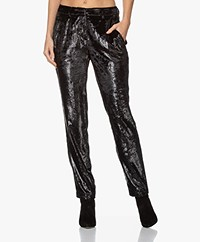 ba&sh Kodi Lurex Velours Pantalon - Zwart