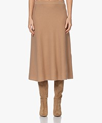 Repeat Knitted Cashmere A-line Skirt - Camel
