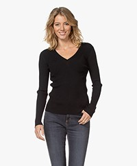 By Malene Birger Dinema Rib Jersey Long Sleeve - Black