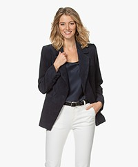 ANINE BING Grace Oversized Ribbed Blazer - Navy