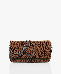Zadig & Voltaire Rock Flocked Suede Shoulder Bag/Clutch - Cognac