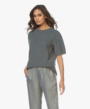 extreme cashmere N°64 Lang Gebreid T-shirt - Wave