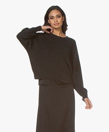 IRO Terebel Mohair Blend Open-worked Rib Sweater - Mixed Black