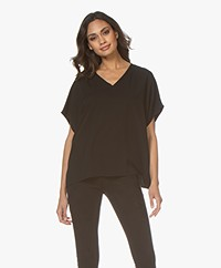 studio .ruig Tem Viscose V-neck Short Sleeve Blouse - Black