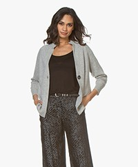 Repeat Pure Cashmere Short Cardigan - Silver Grey