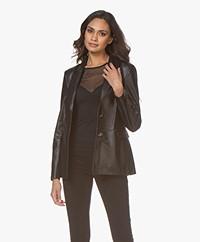 Repeat Luxury Leather Blazer - Black