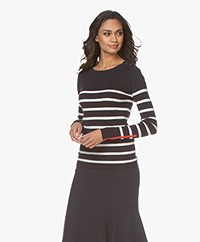 Plein Publique L'Elisa Striped Pullover with Silk - Navy/Ecru