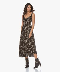 Norma Kamali Tech Jersey Flower Print Midi Dress - Black