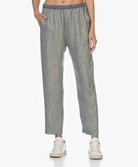 forte_forte Linen Blend Lurex Twill Pants - Indaco